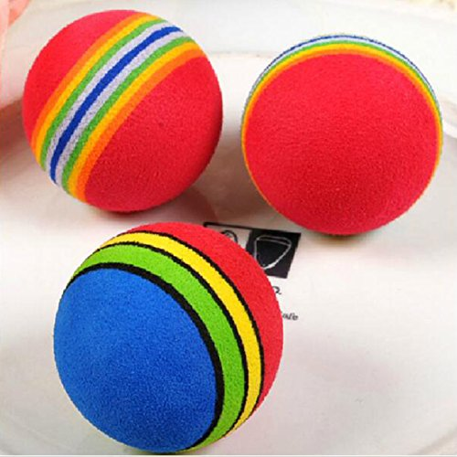 Healthy Clubs 10Pcs Funny Cute Rainbow Toy Ball Small Dog Cat Pet training Toys