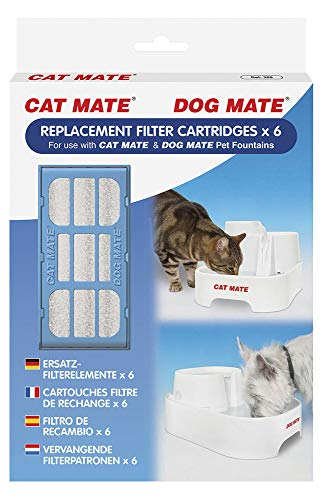Pet Mate Genuine Replacement Filter Cartridges for Use with Cat and Dog Mate Pet Fountains, Pack of 6