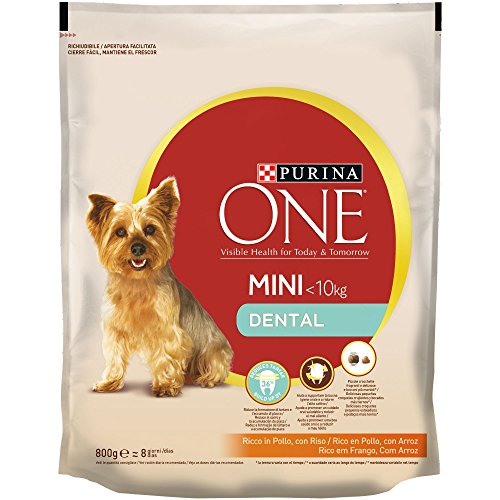 PURINA ONE Mini Dental Pienso para Perro Adulto Pollo y Arroz 8 x 800 g