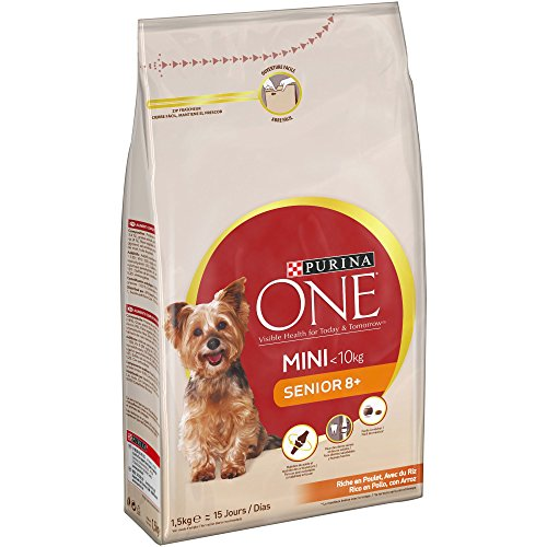 PURINA ONE Mini Pienso para Perro Senior Pollo y Arroz 8 x 800 g