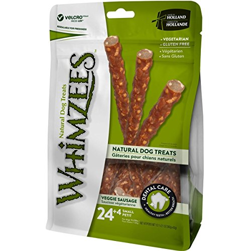 WHIMZEES Natural Dental Dog Chews Long Lasting, Small, Veggie Sausage, 28 Pieces